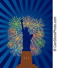 Statue of Liberty Fireworks Night Illustration
