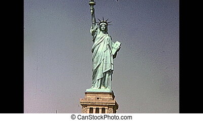 Statue of Liberty from boat tour, Hudson river of Manhattan....