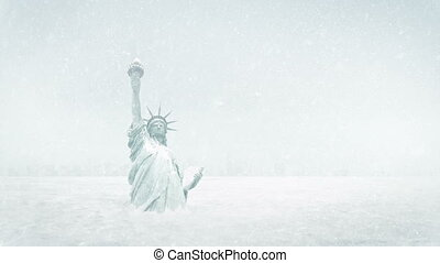 Statue Of Liberty Frozen In Ice Age - The Statue of Liberty...