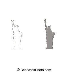 Statue Of Liberty grey color set icon .
