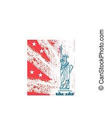 Statue of Liberty, grunge background