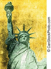 Liberty Grunge Background - Statue of Liberty Grunge...