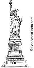 Statue of Liberty Hand Drawing. - Cartoon vector ...