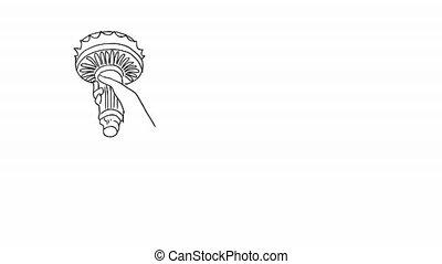 Statue of Liberty hand drawn brush sketching