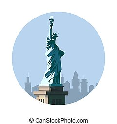 Statue of Liberty icon. American sign.