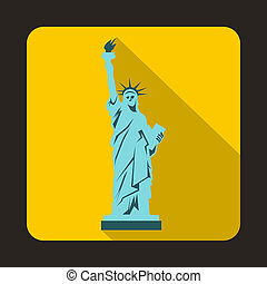 Statue of liberty icon, flat style