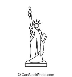 Grand canyon icon in outline style isolated on white for Statue of liberty drawing template