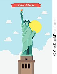 Statue of liberty illustration. Flat style design