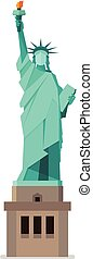 Statue of liberty in flat style. Isolated on white...