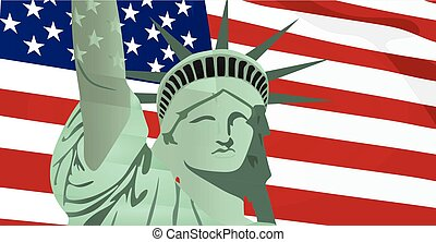 Statue of Liberty in front of USA flag vector