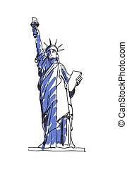 Statue Of Liberty In New York City Hand Drawn Icon