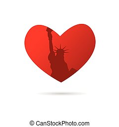 statue of liberty in new york illustration in heart