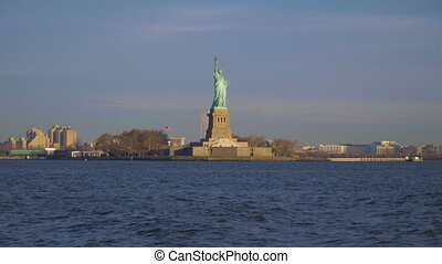 statue of liberty in the evening new york city