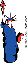 Statue of Liberty in the USA flag colors icon