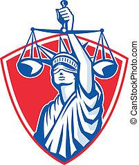 statue of liberty, levantar, justicia, pesar balanzas, retro