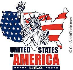 Statue of Liberty, New York City, USA map and flag