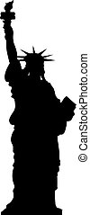 Statue of Liberty, New York, USA. Simple black vector silhouette on white background
