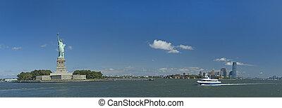 statue of liberty panorama photo, ferry from manhattan, nice...