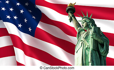 Statue of Liberty on the background of USA flag