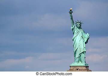 Statue of Liberty sculpture, on Liberty Island in the middle...