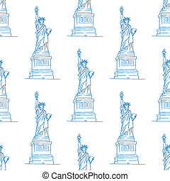 Statue of Liberty seamless pattern