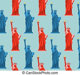 Statue of Liberty seamless pattern. USA national symbol background. Texture of attractions of New York. Symbol of democracy and freedom. Patriotic ornament for fabric