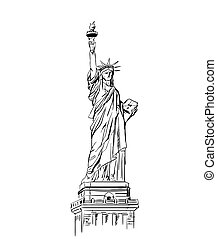 Statue of Liberty sketch. American symbol. Vector...