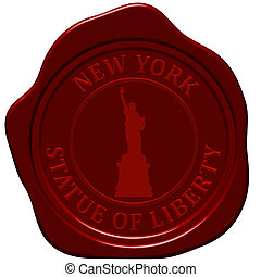 statue of liberty - Statue of liberty. Sealing wax stamp for...