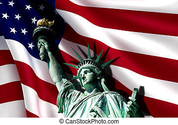 Statue of Liberty on the background of flag usa