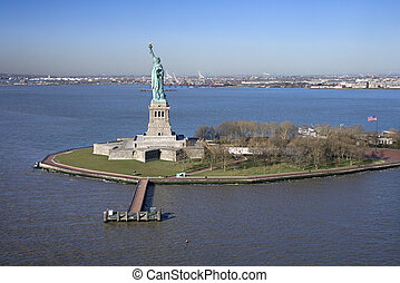 Statue of Liberty. - Aerial view of Liberty Island and...
