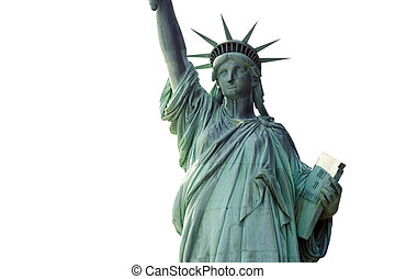 Statue of Liberty with a white background.