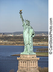 Statue of Liberty. - Aerial view of Statue of Liberty, New...