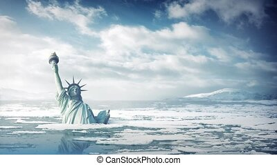 Statue Of Liberty Submerged In Ocean - The Statue of Liberty...