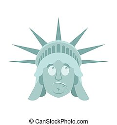Statue of Liberty Surprised Emoji. US landmark statue face...