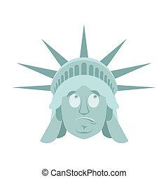 Statue of Liberty Surprised Emoji. US landmark statue face...
