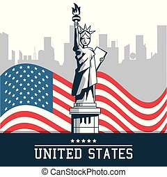 statue of liberty united states flag with city new york background