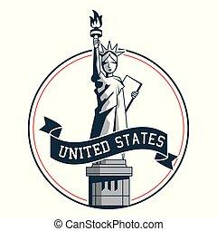 statue of liberty united states symbol badge design