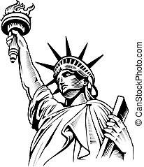 Statue of Liberty, USA flag, NYC