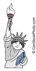 Statue of Liberty Vector - Comic Cartoon Statue of Liberty...