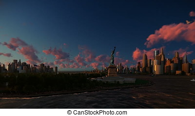 Statue of Liberty view from Ellis Island over Manhattan, New York City at sunset