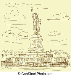statue of liberty vintage - vintage hand drawn illustration...