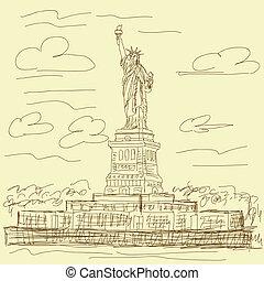 statue of liberty vintage - vintage hand drawn illustration ...