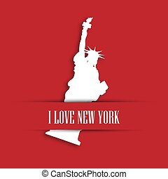 Statue of Liberty white paper cutting in red greeting card pocket with label I love New York. United States symbol and Independence day theme. Vector illustration