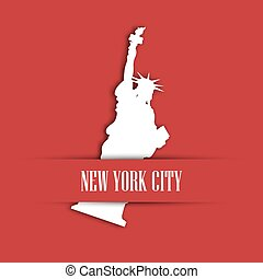 Statue of Liberty white paper cutting in red greeting card pocket with label New York City. United States symbol and Independence day theme. Vector illustration