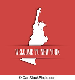 Statue of Liberty white paper cutting in red greeting card pocket with label Welcome to New York. United States symbol and Independence day theme. Vector illustration
