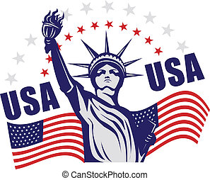 Statue of liberty with flag graphic icon