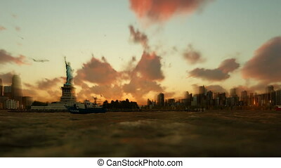 Statue of Liberty with ships sailing, Manhattan, New York...
