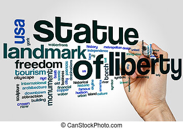 Statue of Liberty word cloud concept