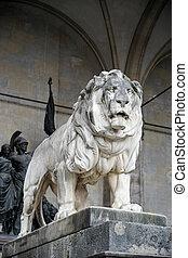 Statue of Lion at Feldherrnhalle in Munich