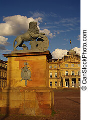Statue of lion at New Castle in Stuttgart
